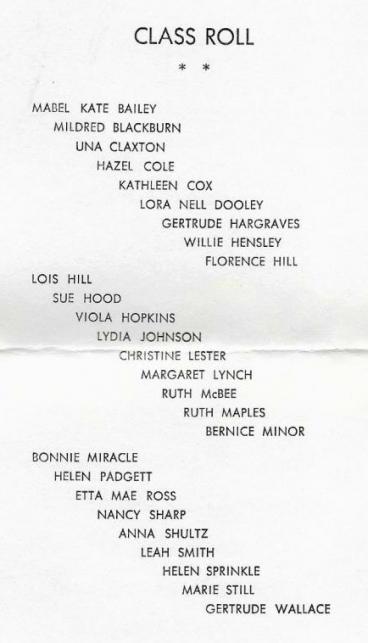 Class of 1942 Graduation Invitation Inside Page