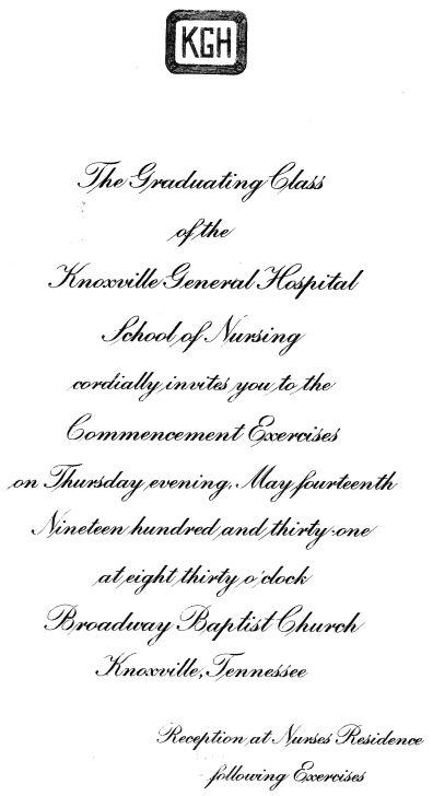 Class of 1931 Graduation Invitation