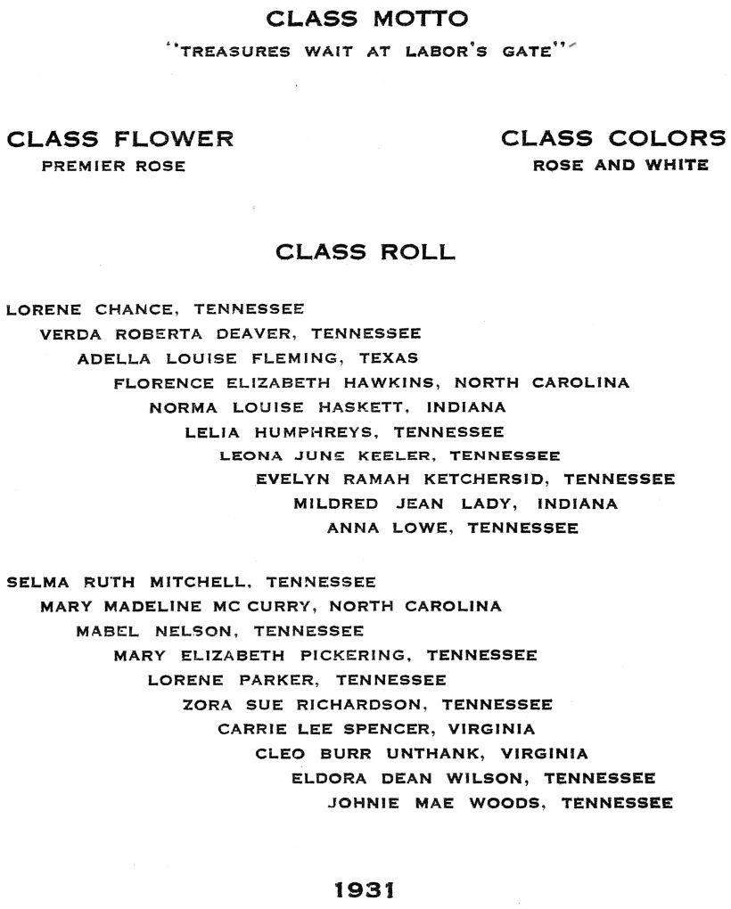 Class of 1931 Graduation Roster